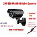 Frete Grátis 1080 P 2MP AHD (Analog High Definition) À Prova D' Água IR 42 PCS LED 2.8-12 MM vari-distância focal Da Lente Da Câmera