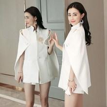 2 Colors Spring Runway Designer Women Beadinged Diamond Ruched Coats Sexy Black White Cape Blazer