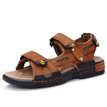 Soft Bottom Genuine Leather Children's Sandals New Fashion Hook & Loop Non-slip Boys Cool Shoes Kids Casual Summer Beach Shoes