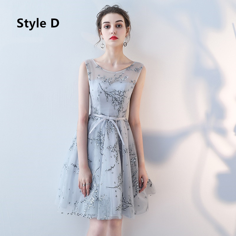 Flower Pattern Sashes Lace Knee Length Bridesmaid Dress 6