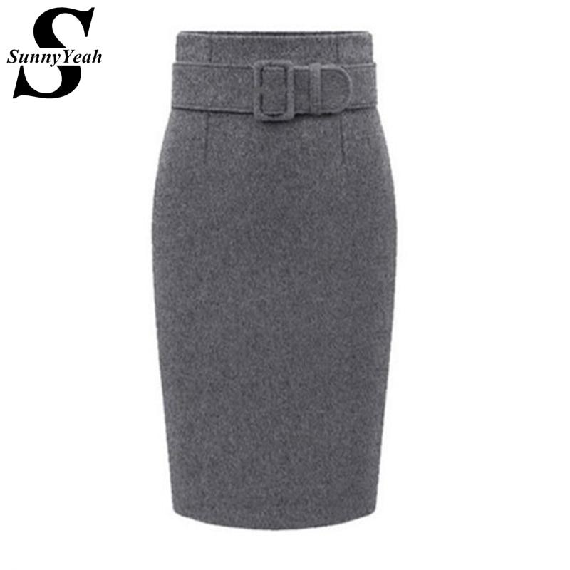 Plus Size High Waist Casual Pencil Skirts Women 2019 New Autumn Winter Skirt Lady Knee-Length Woolen Warm Saia Midi Skirt Female