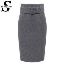 Plus Size High Waist Casual Pencil Skirts Women 2019 New Autumn Winter