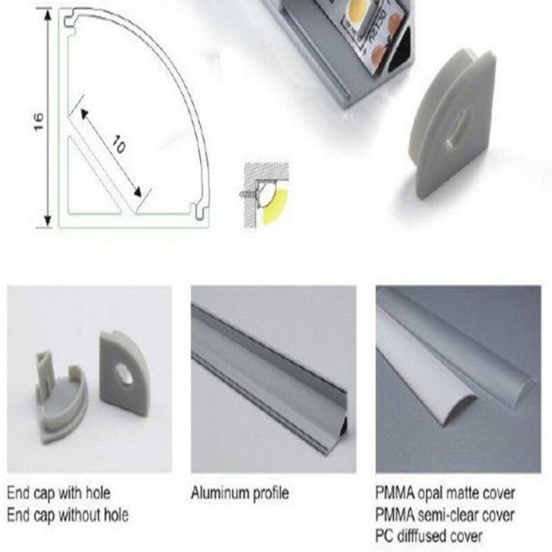 Bande Led en aluminium profil couverture for10mm pcb 5050 5630 cuisine led bande logement en aluminium canal avec couvercle extrémité et clips