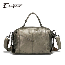 ESUFEIR Brand Genuine Leather Women Handbags Fashion Casual Women Shoulder Bag Patchwork Cow Leather Boston Bag Pillow Bags Sac