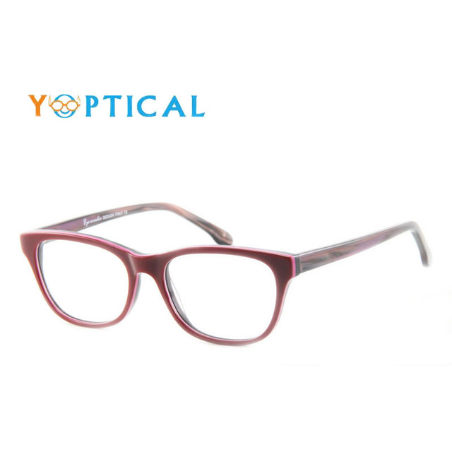 Eye wonder Women's Retro Acetate Burgundy Glasses Frames Vintage Purple Designer Spectacle Frames Lunettes Eyewear accessories