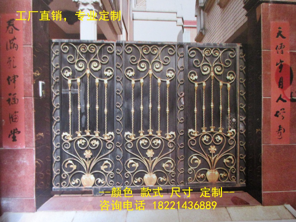 Custom Made Wrought Iron Gates Designs Whole Sale Wrought Iron Gates Metal Gates Steel Gates Hc-g100