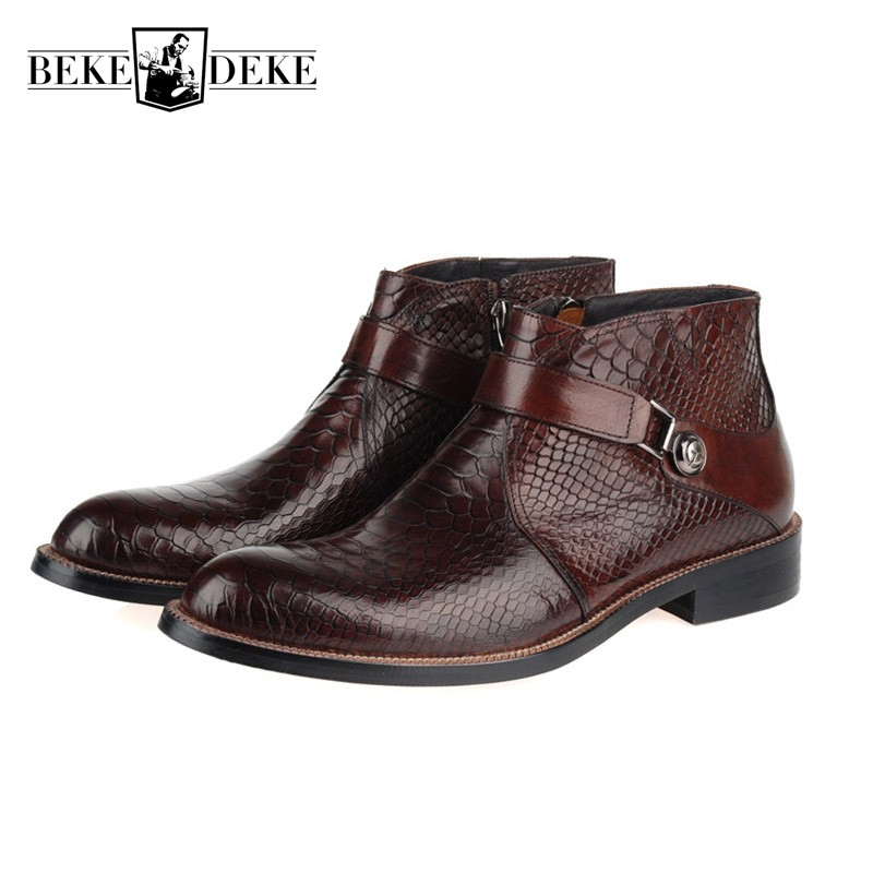 Brogue Men Dress Boots Genuine Leather Italian Black Brown Luxury Fashion Casual Ankle Boots Men Shoes Male For Wedding Business