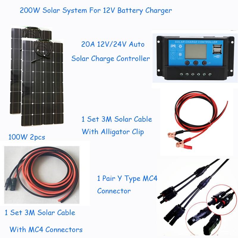 200w solar off grid system kit semi flexible solar panel 100w 2pcs with 20asolar controller Y