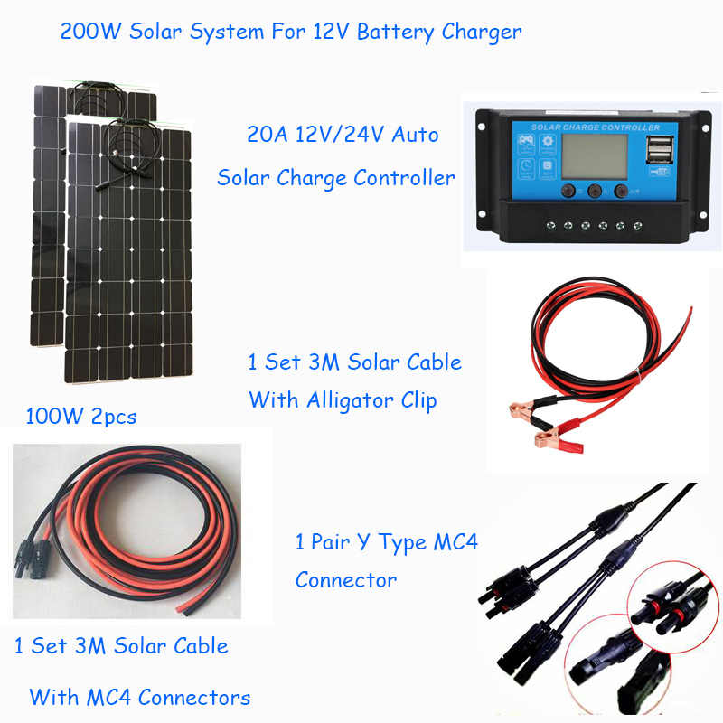 200w solar off grid system kit semi flexible solar panel 100w 2pcs with 20asolar controller, Y MC4 panel connector solar cables