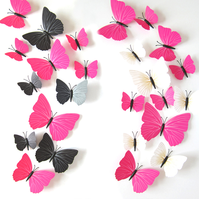 12 pcs/lot PVC 3d Butterfly wall decor cute Butterflies wall ...