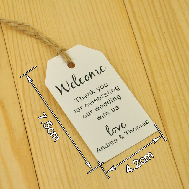 Online Shop 100pcs Kraft Paper, Personalized Wedding Tag, Welcome ...