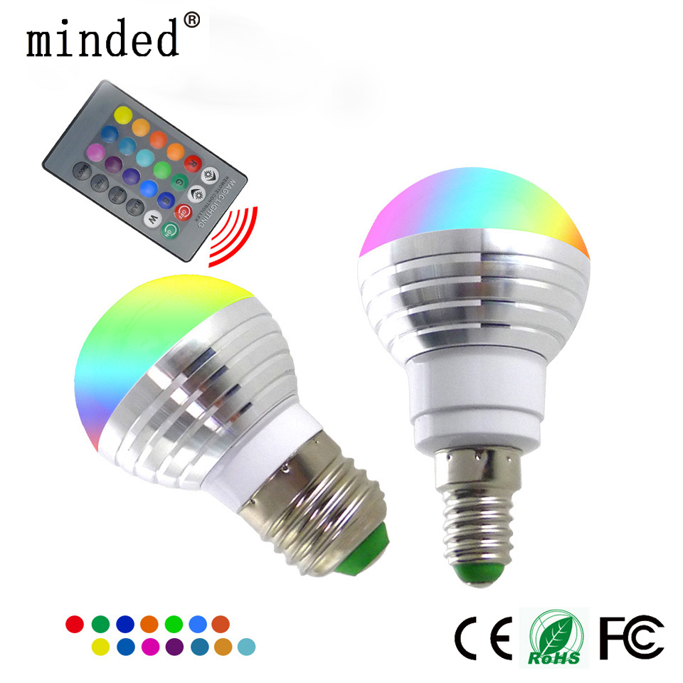 Light Bulbs E27 Rgb Led Lamp Bulb Ac110v 220v E14 E26 Led Light Rgb 5w 10w Spotlight 16 Color Change Dimmable Lampada Led Luz+remote Control