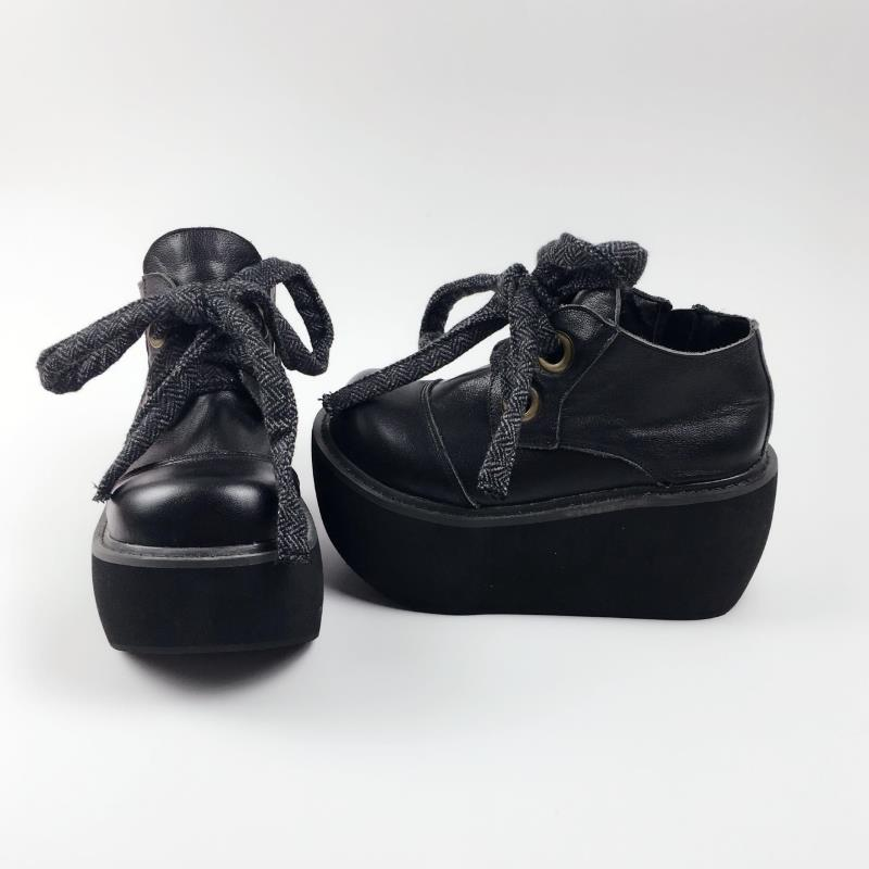 Princess sweet lolita shoes Autumn and winter European style sponge cake thick sole shoes and ankle boots fashion women an2003 lin king fashion women casual shoes round toe thick sole ankle strap lolita shoes sweet buckle bowtie solid lady outdoor shoes