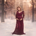 Maternity Dress photography props Lace long sleeve V-neck Pregnancy dresses Photo Shoot Maxi Maternity Gown Woman clothing