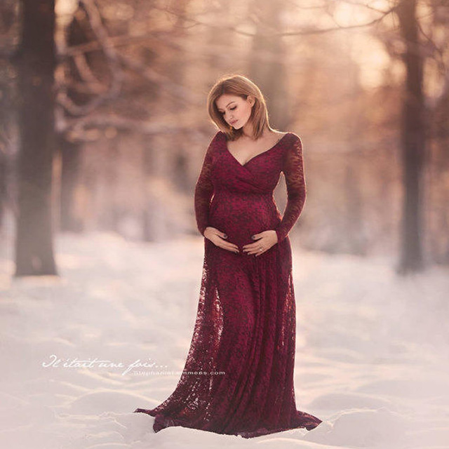 012cf117a9d76 Maternity Dress photography props Lace long sleeve V-neck Pregnancy dresses  Photo Shoot Maxi Maternity Gown Woman clothing