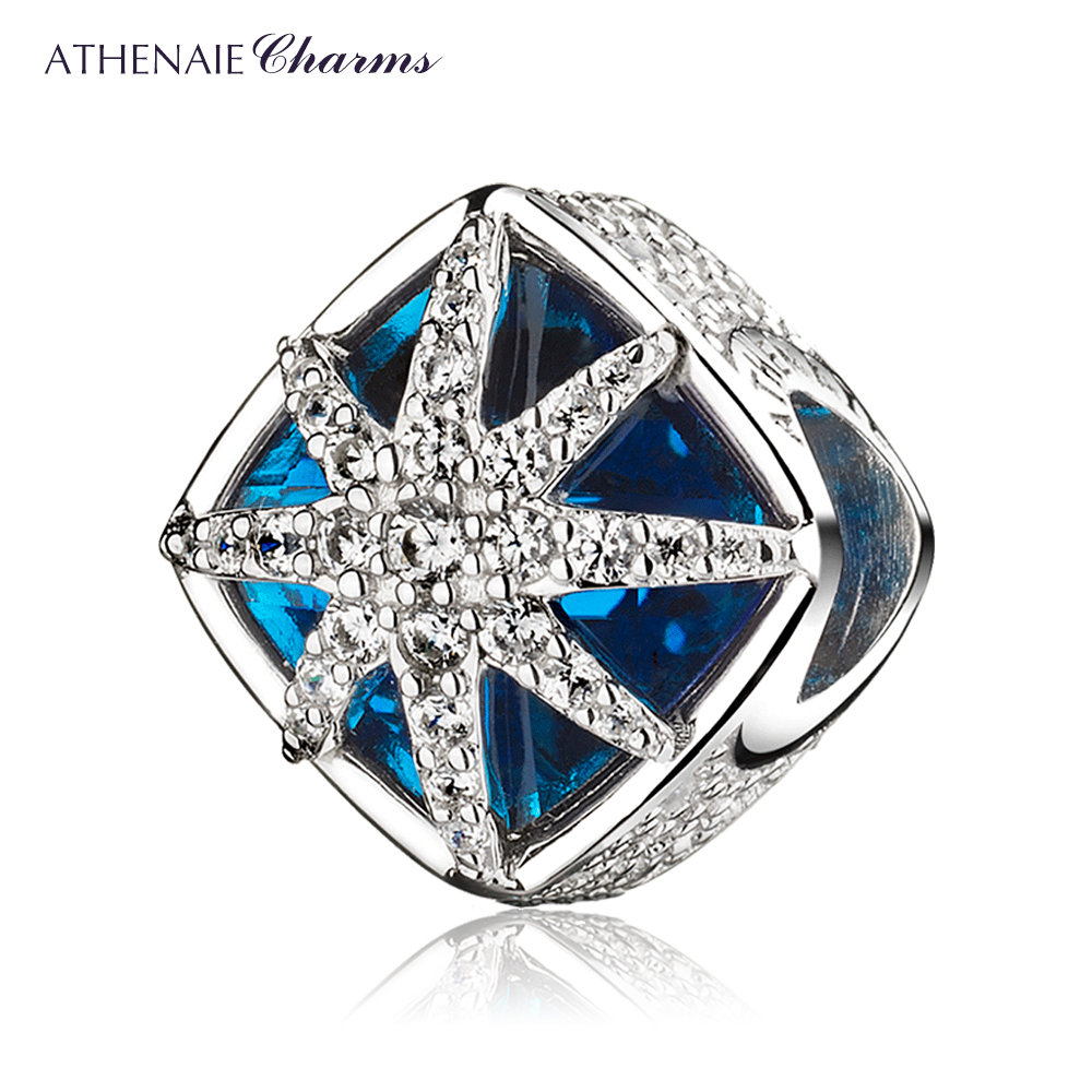 ad4384a30a24 Cheap Plata esterlina 925 belleza Glacial encantos azul cristales CZ copo  de nieve colgantes pulsera de