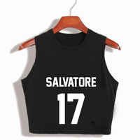 Women S Cropped Salvatore 17 Tees Vampire Diaries Mystic Falls Timberwolves Crop Top Harajuku Kawaii Summer