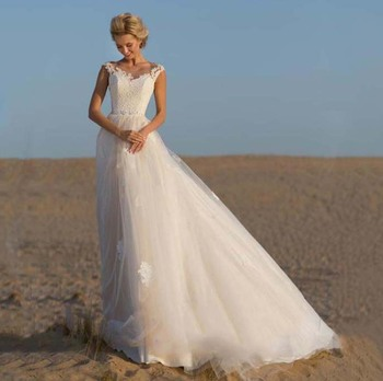Romantic Lace Top Wedding Dress Illusion Scoop Cap Sleeve Bridal Gowns A Line Wedding Dresses Formal Gowns Robe De Soiree