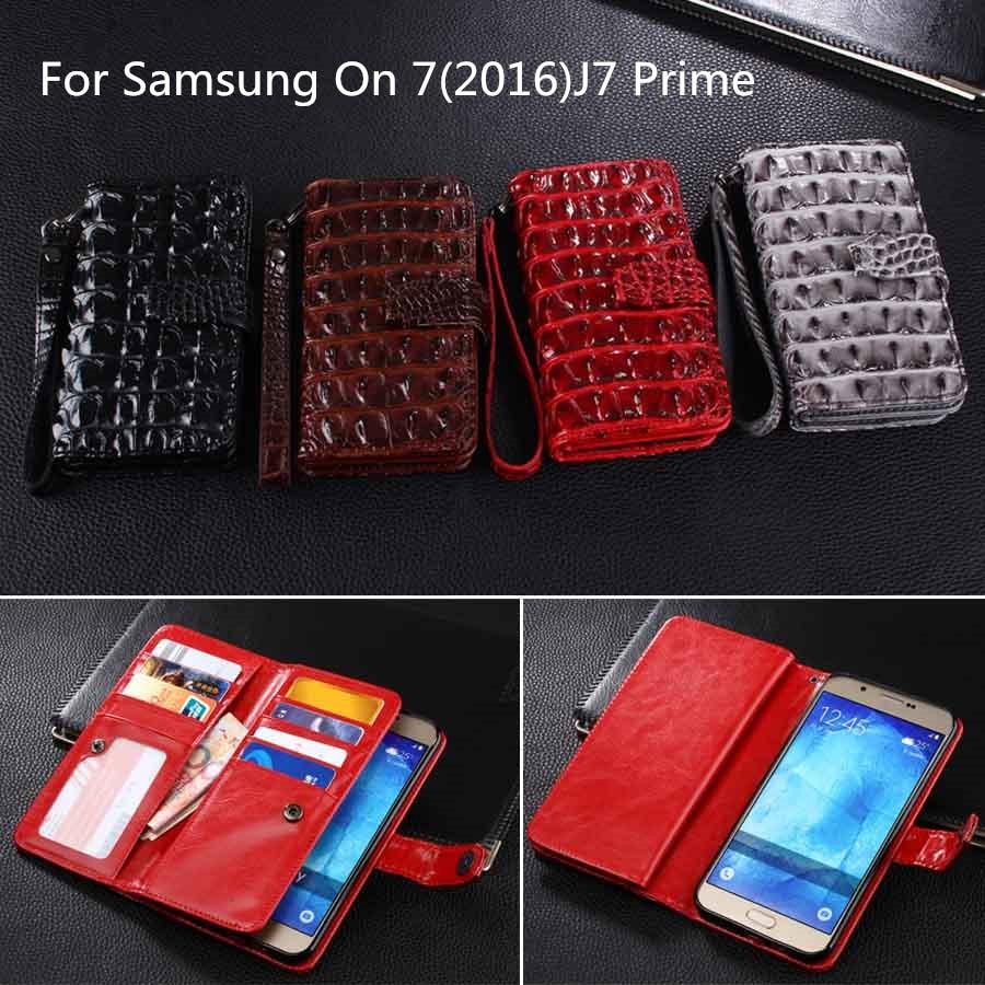 imágenes para Nueva Funda Cartera De Cuero Para Samsung J7 Primer Casos Con Tarjeta titular de Samsung Cubierta Para J7 Primer On7 2016 Monedero cubierta Del Tirón