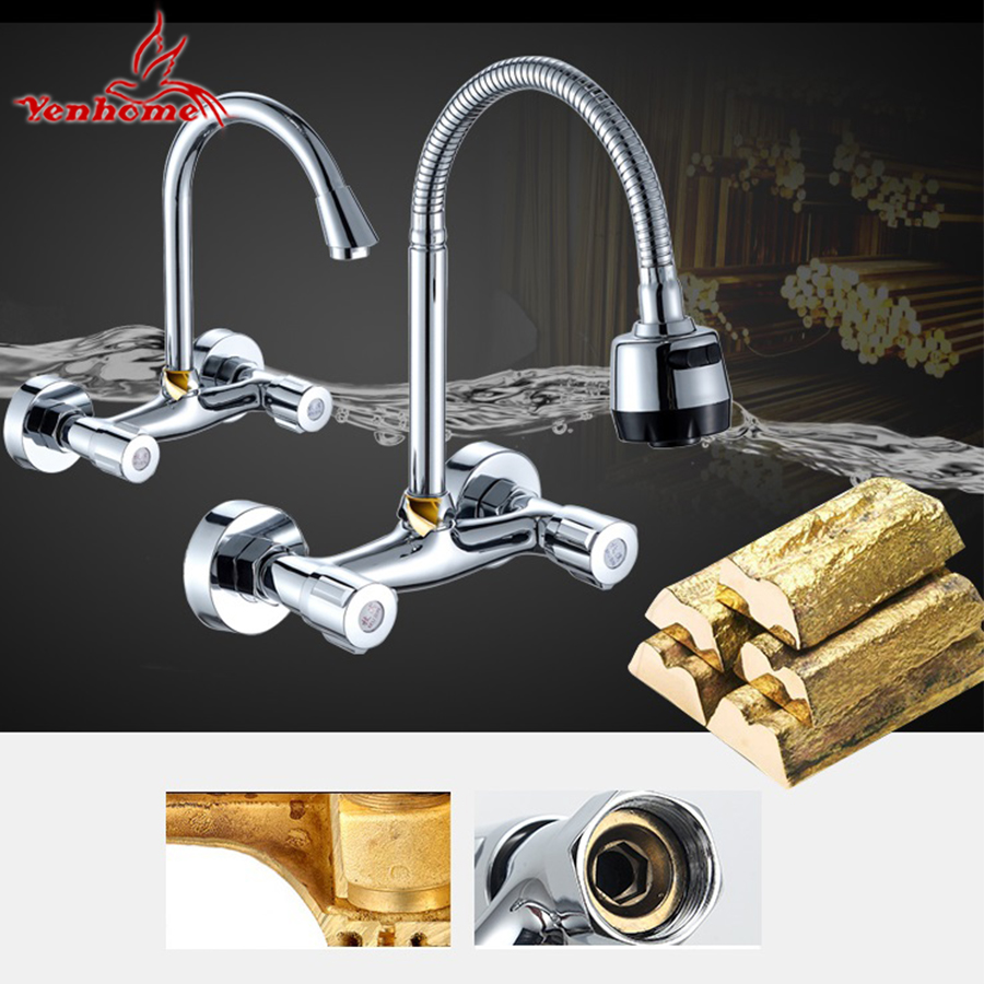 Wall Mounted Stream Sprayer Kitchen Faucet Dual Handle Chrome Brass ...