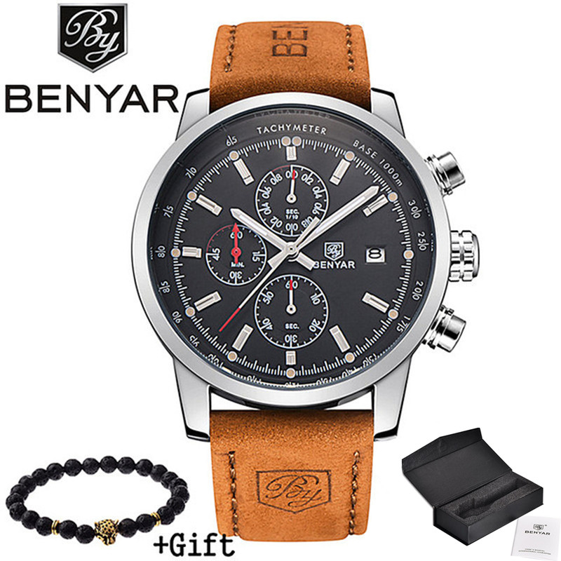 2017 BENYAR Watches Men Luxury Brand Quartz Watch Fashion Chronograph Sport Reloj Hombre Clock Male hour relogio Masculino