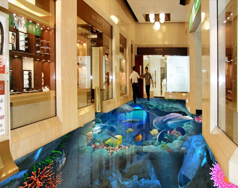 ФОТО 3D floor ocean world custom 3d stereoscopic floor wallpaper waterproof self-adhesive murals 3d pvc floor