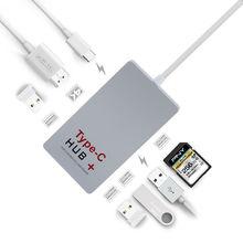 USB-C концентратор + PD 3.0 typeC концентратор типа с card reader 4 К hdmi конвертер поддержка выключатель света и зарядки телефона