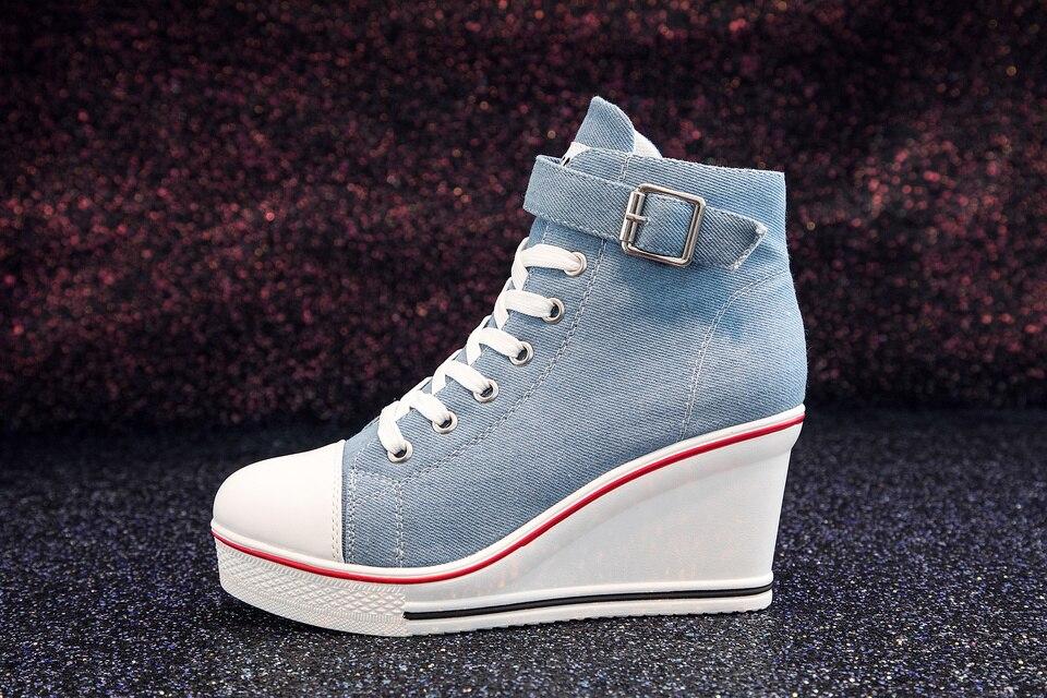 Women High Top Ladies Denim Canvas Sneakers product detail