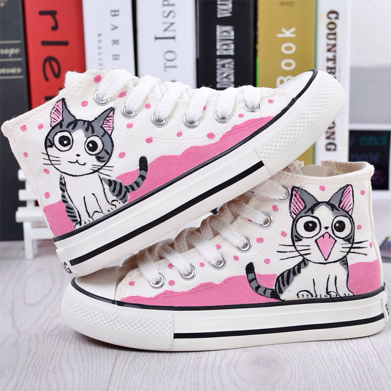 2017 Spring Autumn Women Hand Painted Canvas Shoes Lazy Cat High Help Colored Drawing Casual Shoes Academy Sport Loafers christmas snowflake style 6 cup silicone diy muffin tray cupcake cake case mold pink