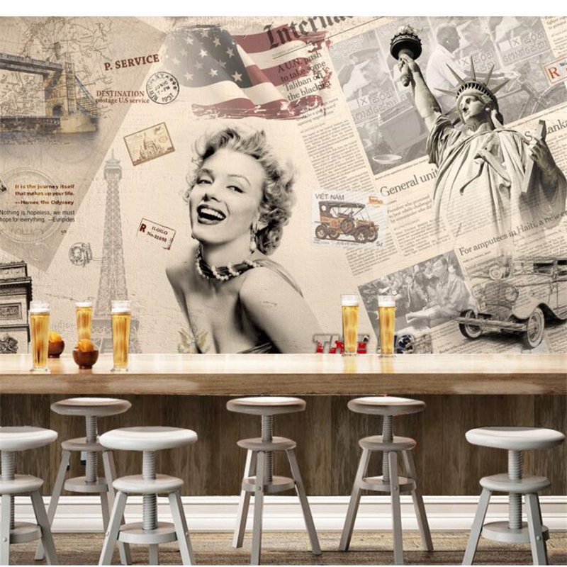 beibehang papel de parede Custom wallpaper Retro European and American retro classic car Monroe old newspaper background wall
