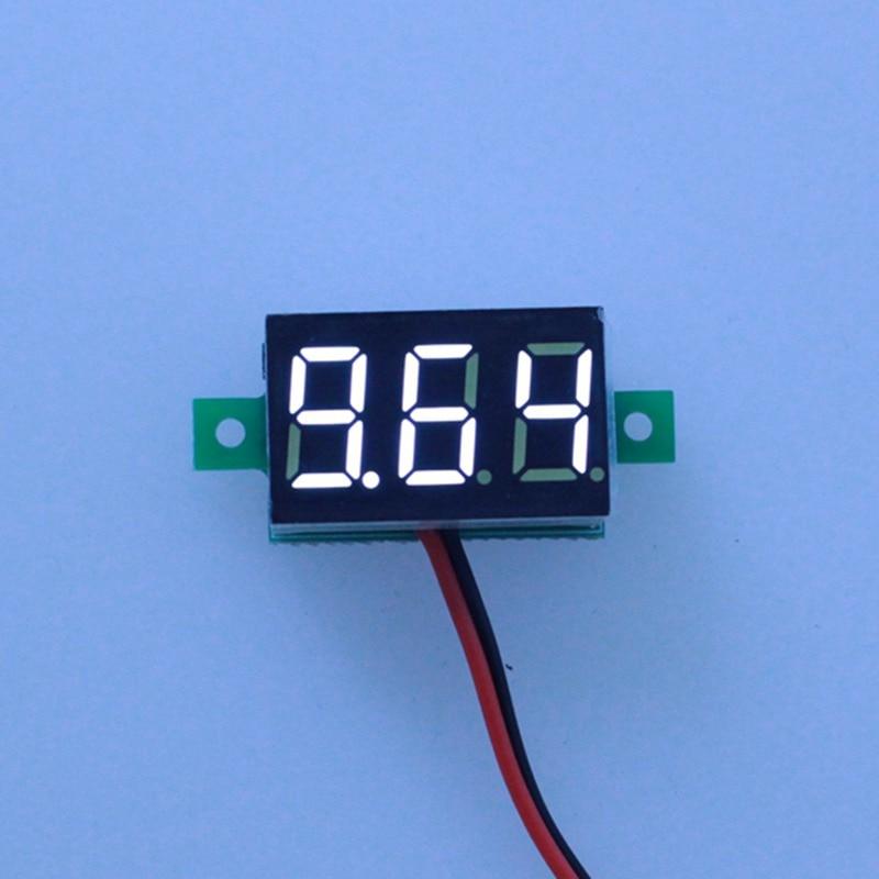 20PCS/lot White Led display color DC3-30V car digital volt voltage panel meter gauge auto voltmeter battery monitor