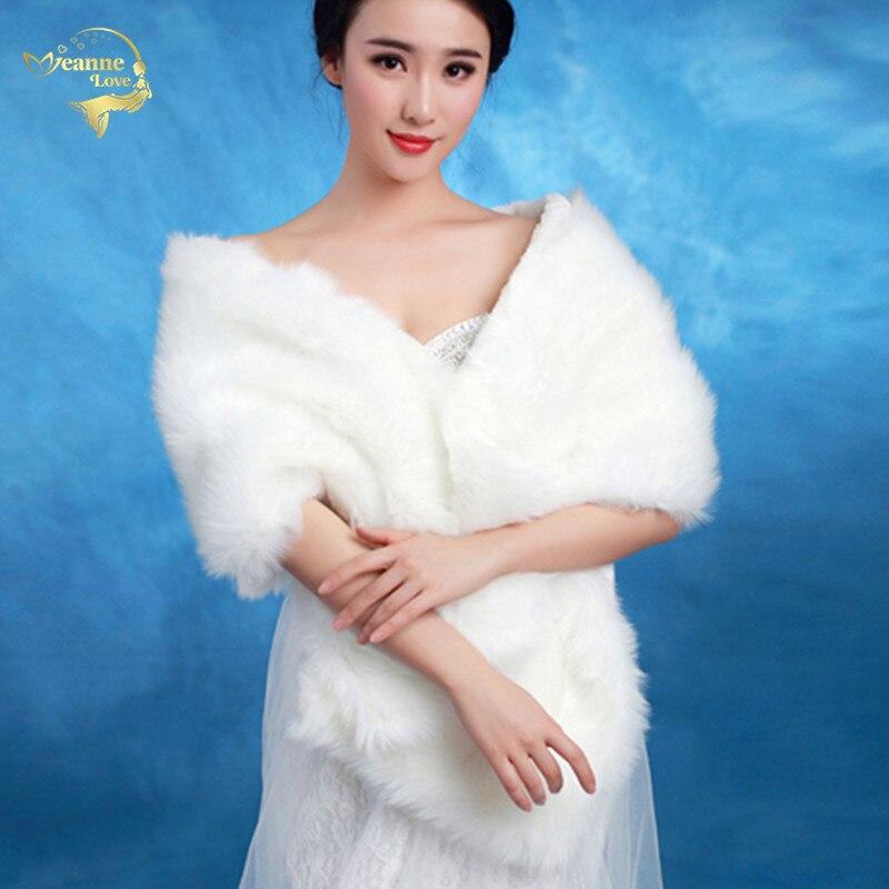 Hot Free Shipping 2017 New Arrival Urged Wrap Bride Formal Dress Winter Cape Bride Fur Shawl