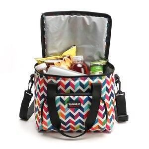 Image 4 - SANNE fiambrera térmica a la moda para mujer, bolsos para la comida para Picnic, nevera portátil, multifunción, YQ835, 2019