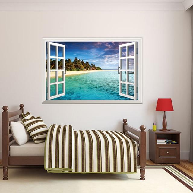[SHIJUEHEZI] Removable Fake Window 3D Wall Stickers Beach Island Mural Art  For Living Room