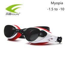FEIUPE Myopia Swim Goggles Swimming Glasses Anti Fog UV Protection Optical Waterproof Eyewear for Men Women Adults Sport