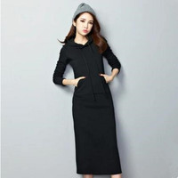 2016 New Fashion Winter Dress Sexy Women Hooded Warm Black Maxi Dress Long Sleeve Casual Elegant