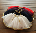 New  Summer 2017 Girls Gauze Skirt Korean  Red Layered Skirt Children Gold Skirts New Classical Flowergirls Ballet Skirt
