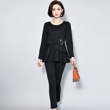 new autumn women big yards loose Korean fashion black suits long-sleeved blouse top & pants two-piece outfit lady vestido L-5XL