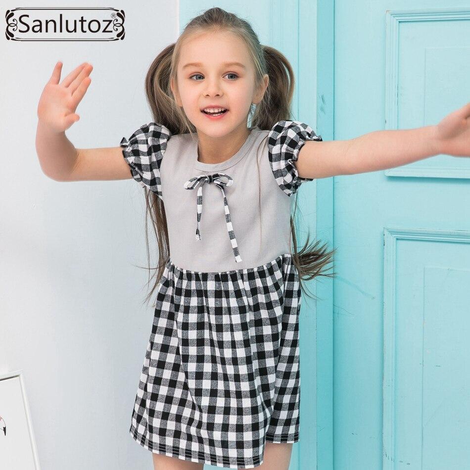 Sanlutoz Summer Girls Clothes Cotton Fashion Kids Dress Grid ...