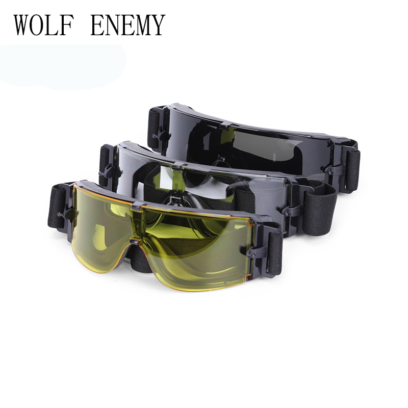 Light And Comfortable Goggle Glassses 3 Lens Transparent/black/yellow Wind Dust Protection USMC Airsoft X800 Tactical Sunglasses