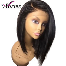 150% Density Short Bob Wig Peruvian Remy Straight PiXie Cut Hair13x6 Lace Front Human Hair Wigs Pre Plucked lace frontal Wig(China)