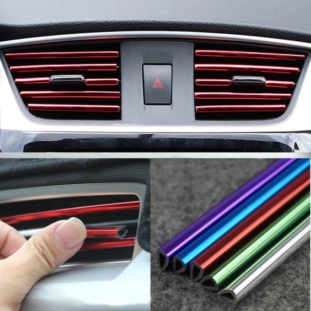Tira decorativa para rejillas de ventilación Interior de coche, bricolaje, en forma de U, para Chevrolet Cruze Orlando Lacetti Malibu Volt Camaro