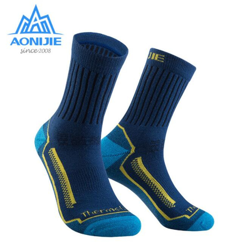 AONIJIE Outdoor Sports Wool Warm Socks Running Athletic Men Women  Marathon Hiking Breathable