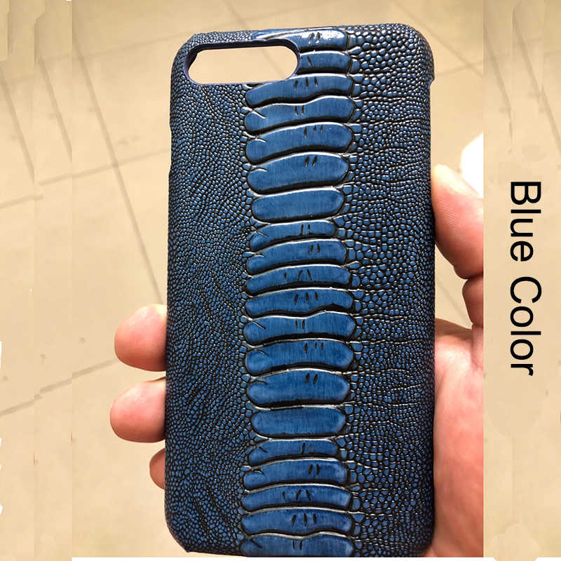 Langsidi capa de couro genuíno de avestruz, para iphone x xr xs max 8plus 8 7 7plus 6 6s plus 11 pro max se 2020 capa luxuosa