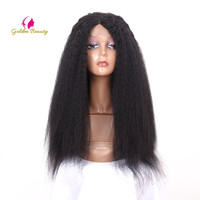 Golden Beauty 24inch Long Kinky straight Wig Synthetic Lace Front Wigs for Women