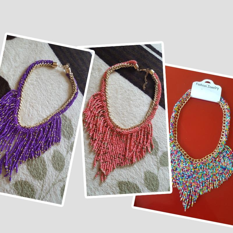 2019 bohème colliers mode pour les femmes bijoux Mujer tissé à la main Collier Long gland perles tour de cou colliers N20 4