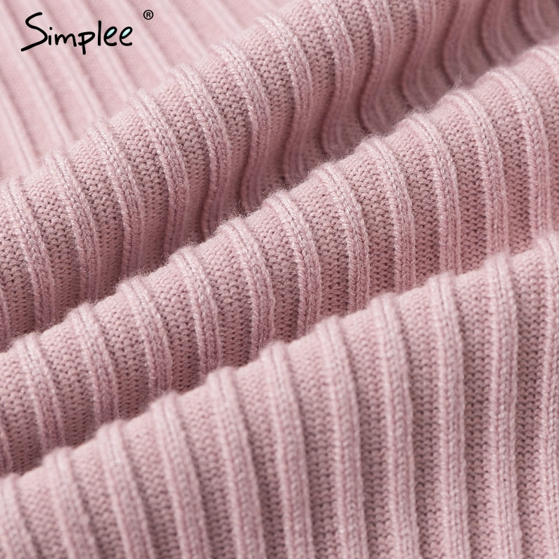 Simplee Sexy v-neck women knitted skirt suits Autumn winter batwing sleeve ladies suit Elegant party female sweater pink dress 16