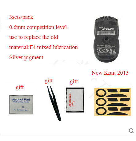 3sets/pack Original Hotline Games 0.6mm Competition Level Mouse Feet For Razer Krait 2013 Professional Gaming Mouseskate