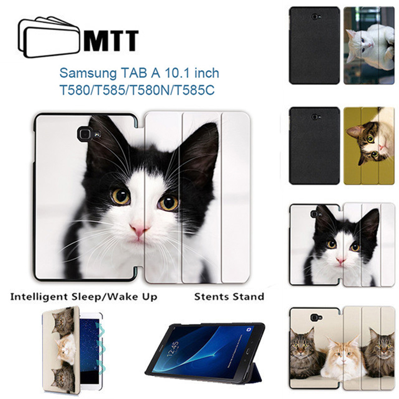 MTT Case For Samsung Galaxy Tab A 10.1 inch A6 SM-T580N T585C Lovely Cat PU Leather Flip Stand Tablet Case Protective Cover leopard pattern protective pu leather plastic flip open case w stand card slots for samsung s5