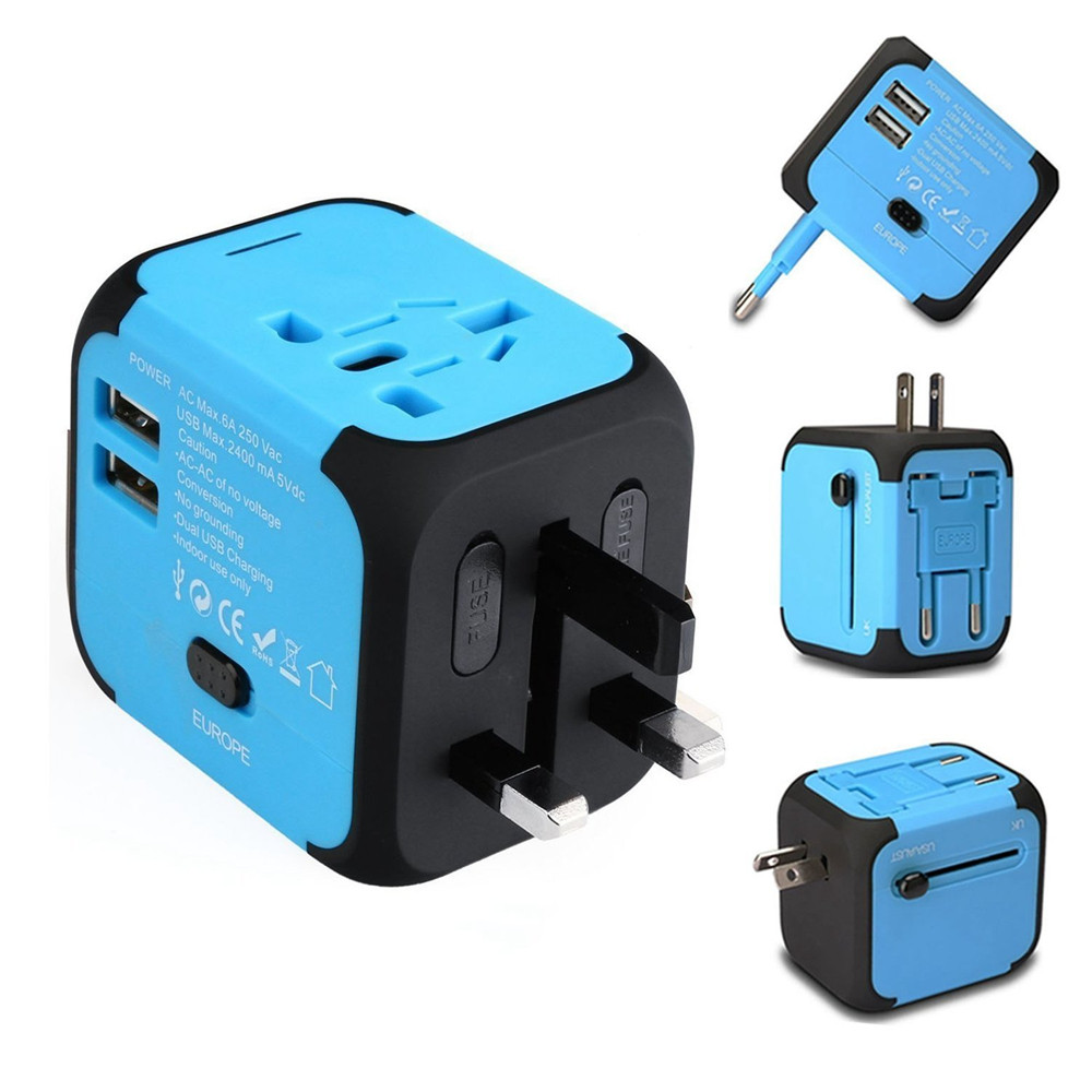New Universal Travel Adapter Electric Plugs Sockets Converter US/AU/UK/EU with Dual USB Charging 2.4A LED Power Indicator